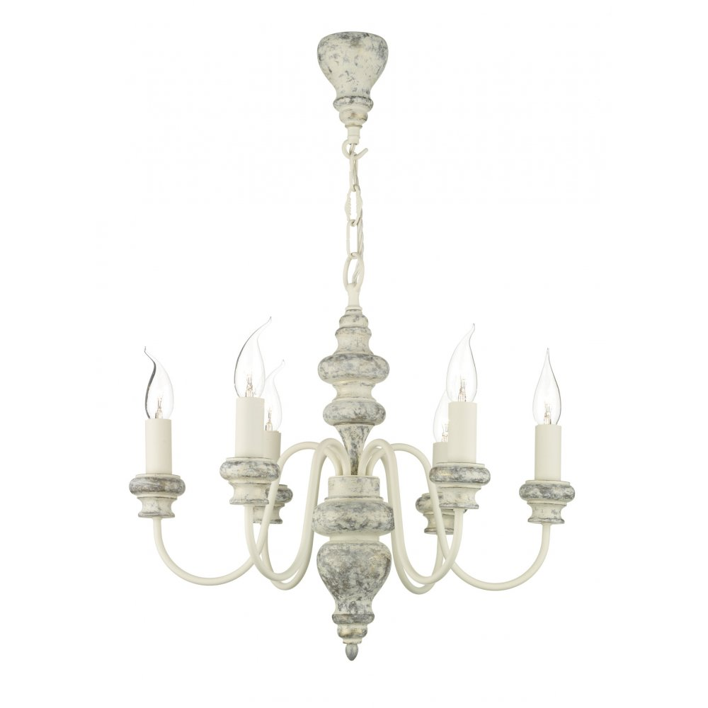 Traditional distressed cream chandelier light for rustic settings verona distressed cream ceiling light mozeypictures Images