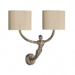 VISCONTI - Wall Light Complete With Taupe Silk Shades Bz Laminate Wall