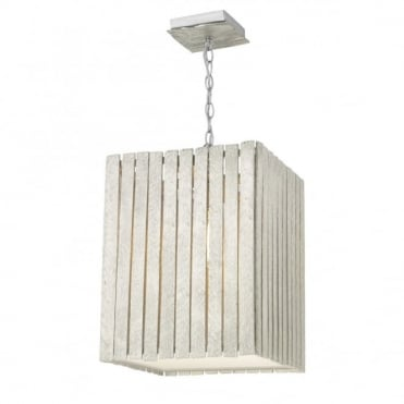 WHISTLER - Rustic Distressed Silver Wooden Ceiling Pendant