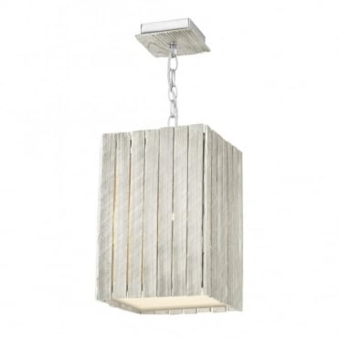 WHISTLER - Rustic Distressed Silver Wooden Ceiling Pendant (Small)