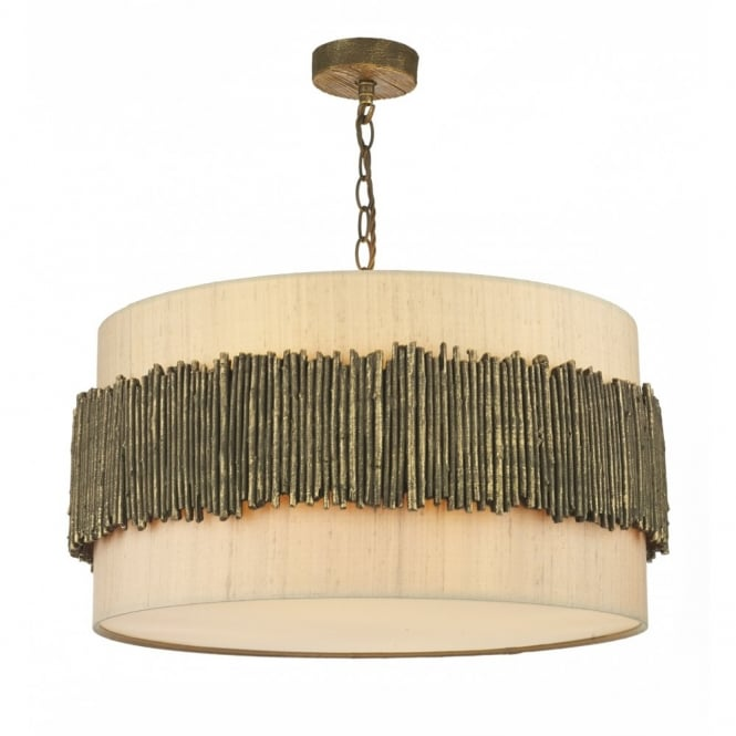 David Hunt Lighting WILLOW - Rustic Gold Cocoa Ceiling Pendant