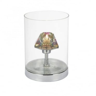DECADE - Touch Table Lamp Polished Chrome With Clear Glass