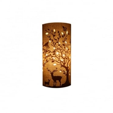 Delightful Cylindrical Fabric Deers & Birds Table Lamp