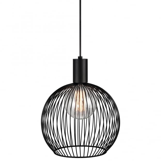Design For The People AVER - 30cm Globe Cage Ceiling Pendant Black