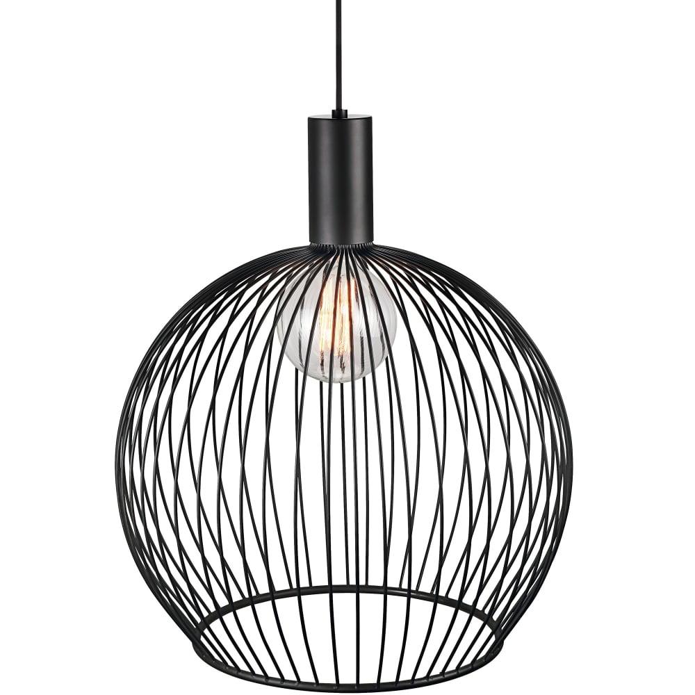 Aver 50cm Globe Cage Ceiling Pendant Black Lighting