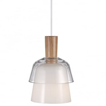 CALICO - Modern Tiered Ceiling Pendant White with Wood
