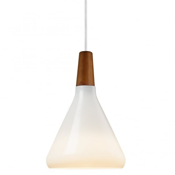 Design For The People FLOAT - 18 Opal White and Oiled Walnut Ceiling Pendant