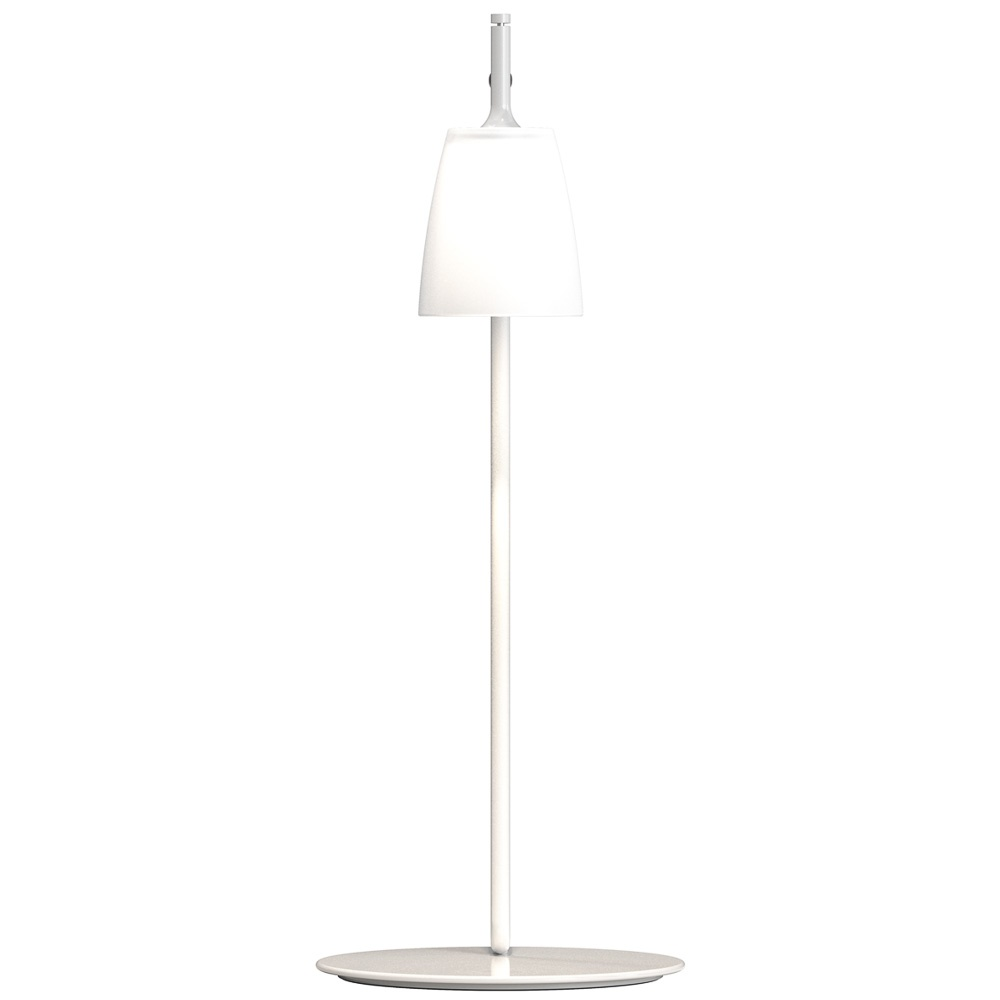 Contemporary white led table lamp with sanded glass shade for Modern led table lamps