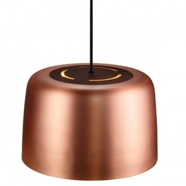 VISION - Modern Ceiling Pendant in Copper with Oiled Walnut