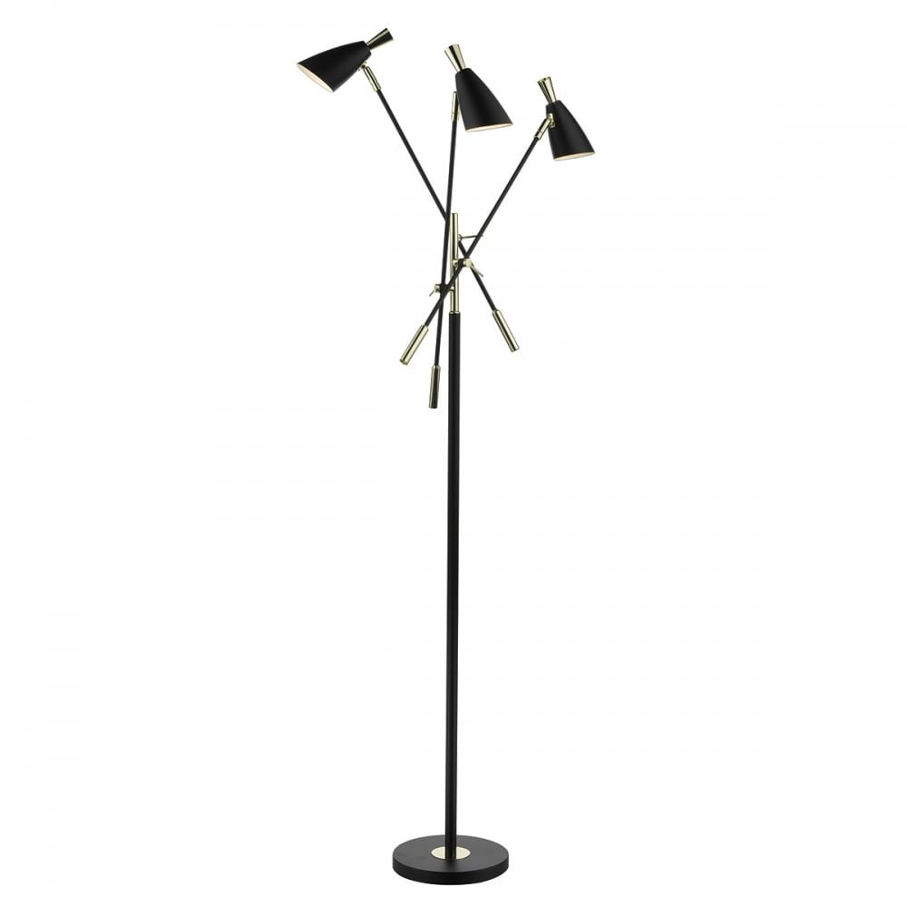 Contemporary Matte Black 3 Light Floor Lamp Lighting And