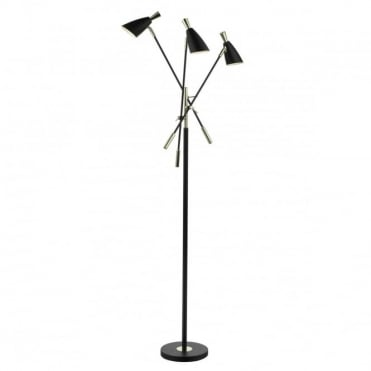 DIEGO - 3 Light Floor Lamp Black Gold Black
