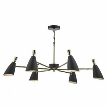 DIEGO - 6lt Ceiling Pendant in Black and Gold