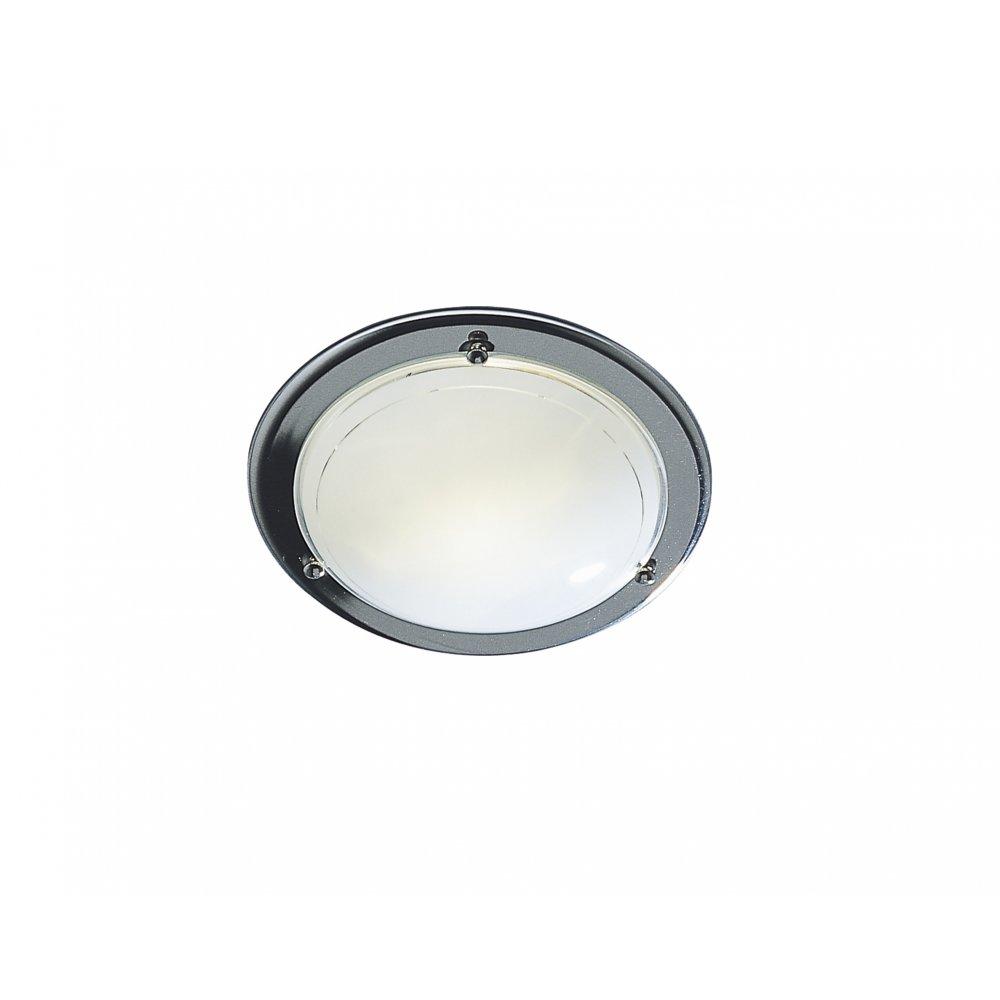 flush polished chrome ceiling light with white glass