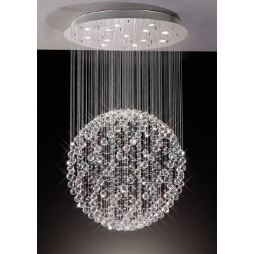 COLORADO Suspended Crystal Sphere Large Ceiling Pendant Chrome