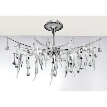 CYGNET Chrome and Hand Crafted White Glass Abstract Ceiling Pendant Light