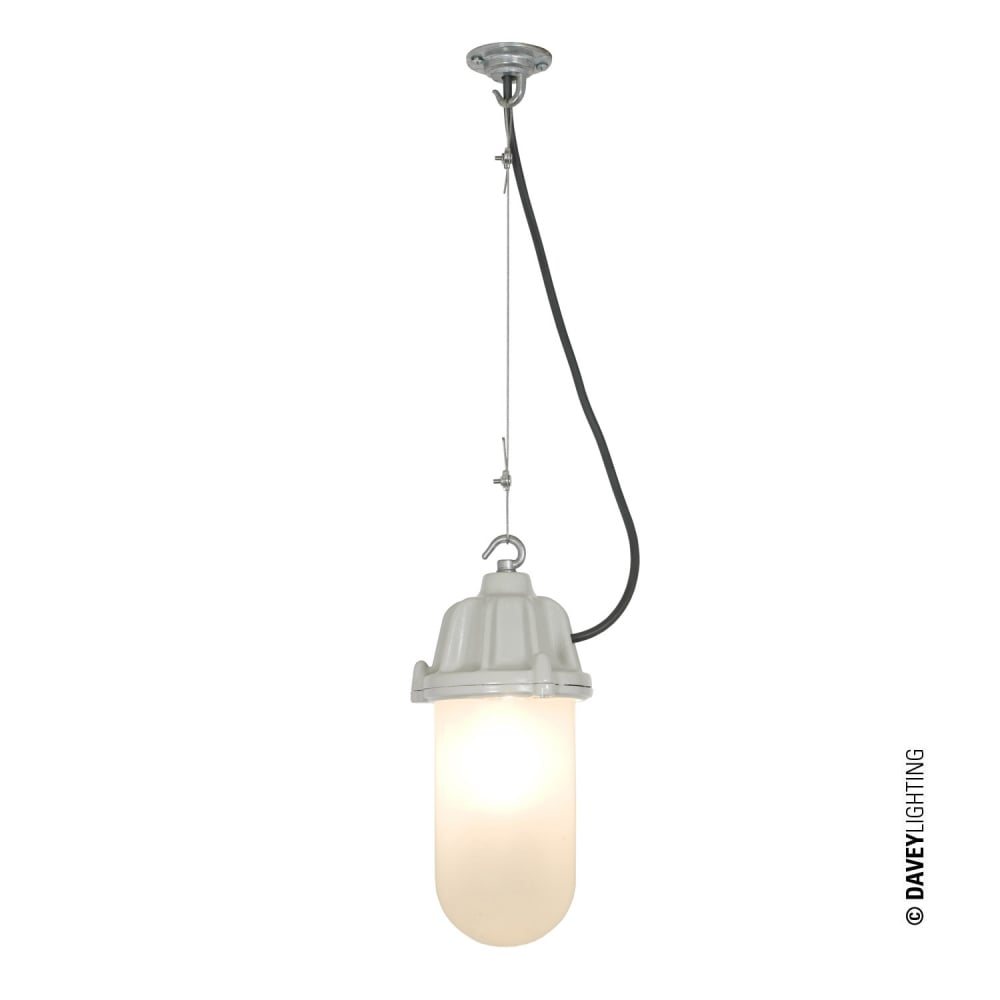purchase cheap f64c6 e7f06 DOCKSIDE - Ceiling Pendant Putty Grey Frosted Glass IP44, Exterior and  Bathroom Safe