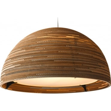 DOME 93cm Diameter Dome Ceiling Pendant Natural Brown Recycled Cardboard