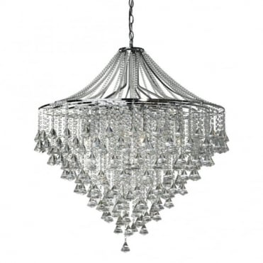 DORCHESTER - 7 Light Flush Ceiling Ceiling Light In Chrome With Crystal Octohedrons