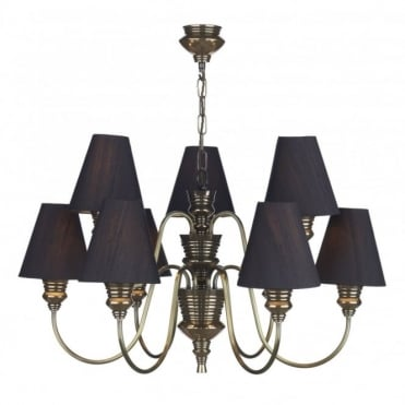 DOREEN - Large 9 Light Bronze Ceiling Pendant With Black Silk Shades