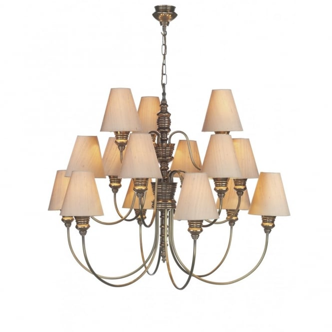 DOREEN - Very Large 15 Light Bronze Ceiling Pendant With Silk Shades