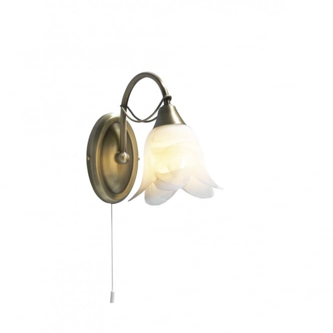 DOUBLET - Antique Brass Wall Light Switched