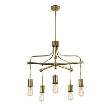 DOUILLE Vintage Industrial 5 Light Chandelier Ceiling Pendant Aged Brass