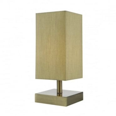 DRAYTON - Touch Antique Brass C/W Taupe Shade Table Lamp