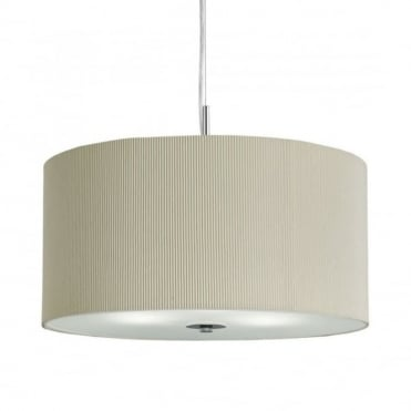 DRUM - Pleat Ceiling Pendant 3 Light Pleated Shade Ceiling Pendant Cream with Frosted/Opal Glass