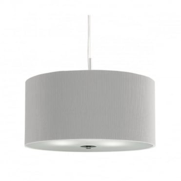 DRUM - Pleat Ceiling Pendant 3 Light Pleated Shade Ceiling Pendant Silver