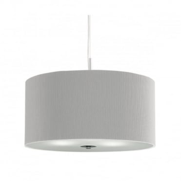 DRUM - Pleat Ceiling Pendant 3 Light Pleated Shade Ceiling Pendant Silver Wi