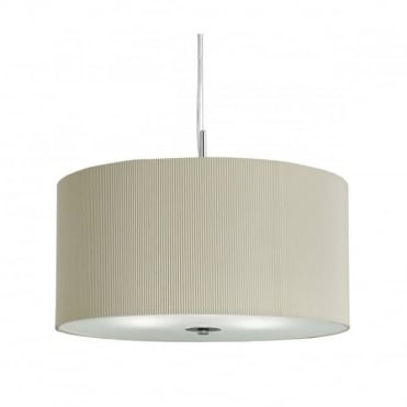 DRUM - Pleated Ceiling Pendant 3 Light Ceiling Pendant Cream with Frosted/Opal Glass