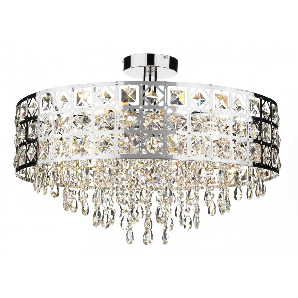 Decorative Modern Flush Ceiling Light With Chrome Crystal Decoration