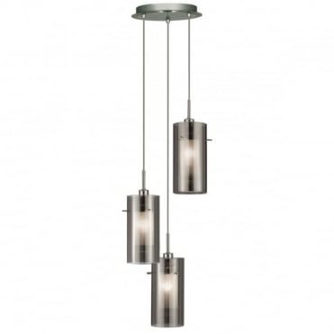 DUO - 2 3 Light Ceiling Multidrop With Smokey Outer/Frosted
