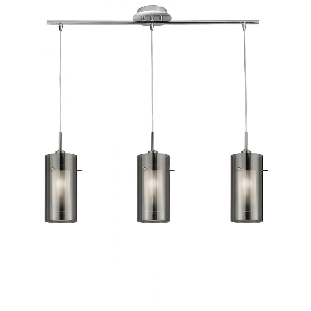 Duo I Triple Ceiling Pendant With Double Smokey Glass Shades