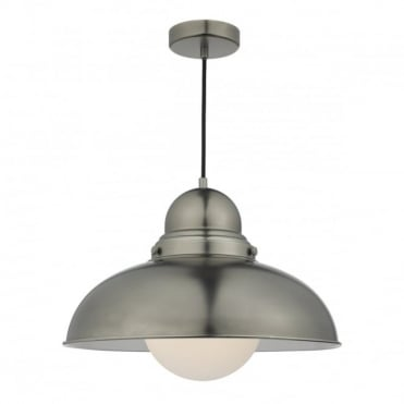 DYNAMO - 1 Light Ceiling Pendant Antique Chrome Large Antique Chrome