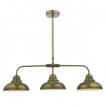 DYNAMO - 3 Light Bar Ceiling Pendant Weathered Brass