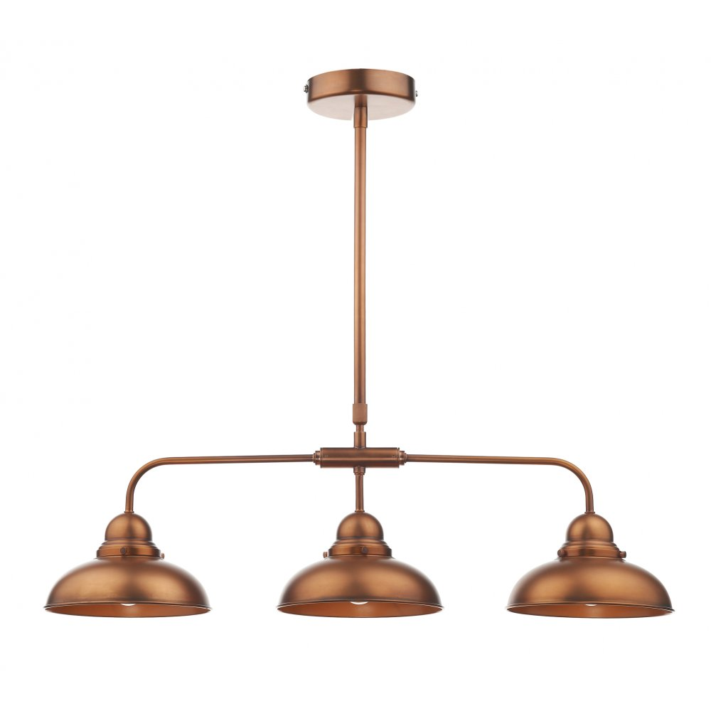 Dynamo antique copper 3 light bar pendant light