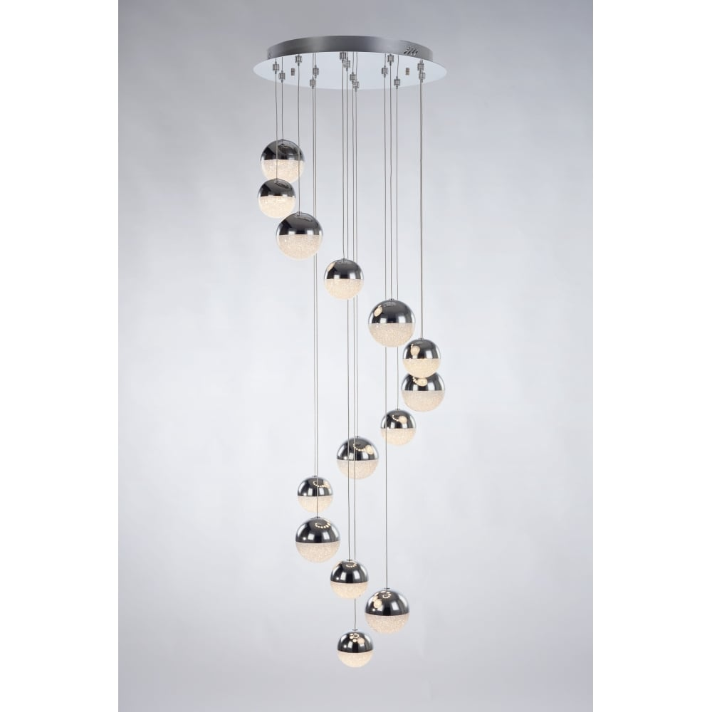 3 meter long feature light chrome 14 light spiral drop dimmable led eclipse 14 light dimmable led globe spiral ceiling pendant cluster chrome quartz crystal aloadofball Gallery