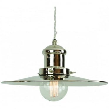 LARGE - Edison Ceiling Pendant Polished Nickel C/W Lb3 Bulbs
