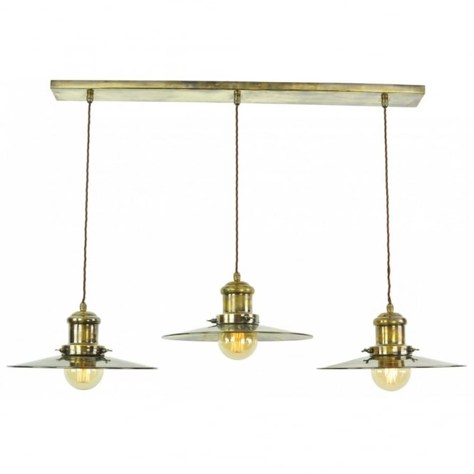 Large Edison Triple Pendant Antique Brass C/W LB3 Bulbs