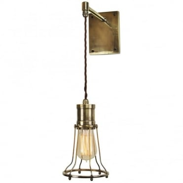 MARCONI - Adjustable Height Wall Light Antique Brass C/W Lb2 Bulbs