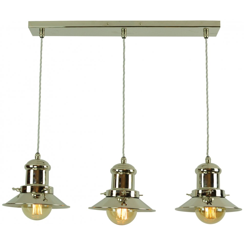 Small Edison 3 Light Pendant Polished Nickel C W LB3 Bulbs