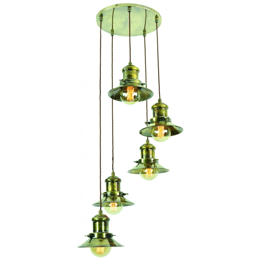 Edison Lighting SMALL - Edison 5 Light Cluster Antique Brass C/W Lb3 Bulbs  ...