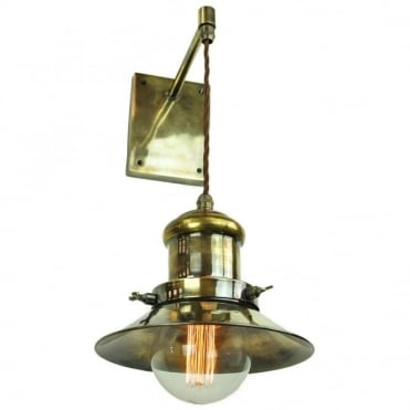SMALL - Edison Adjustable Height Wall Light Antique Brass C/W Lb3 Bulbs