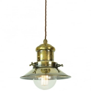 SMALL - Edison Ceiling Pendant Antique Brass C/W Lb3 Bulbs