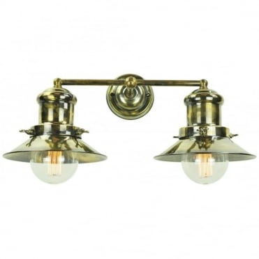 SMALL - Edison Double Wall Antique Brass C/W Lb3 Bulbs