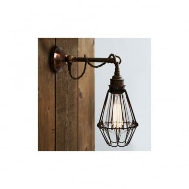 EDOM - Industrial Cage Wall Light In Antique Brass