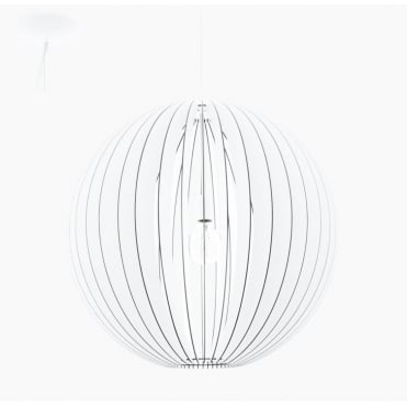 COSSANO Slatted Wood White Globe Large Ceiling Pendant 70cm