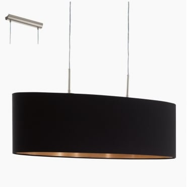PASTERI Black and Copper Oval Island Ceiling Pendant 75cm