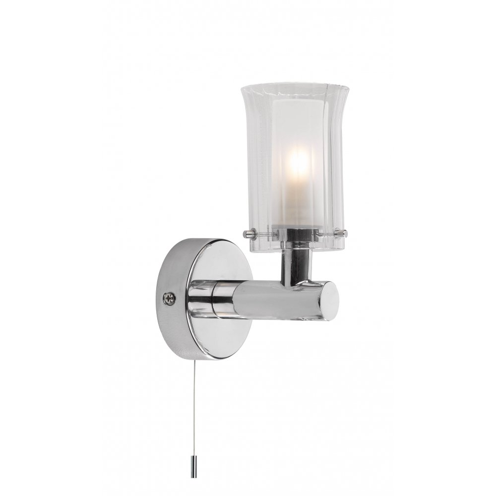 Contemporary Design Bathroom Wall Light in Chrome with Glass Shade